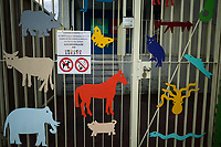 Switzerland. Canton Ticino. Lugano. Elementary school building. Entrance with animal figures. Closed gate. No dogs allowed. No smoking sign. Colorful animal figures. Elephant, pig, snake, octopus, horse, cow, rhinoceros, butterfly, parrot, fish, wolf, turkey. 13.01.2020  © 2020 Didier Ruef