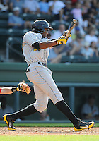 Outfielder Gregory Polanco (25) of the West Virginia Power, a Pittsburgh Pirates affiliate, in a game against the Greenville Drive on May 20, 2012, at Fluor Field at the West End in Greenville, South Carolina. Greenville won 6-5. (Tom Priddy/Four Seam Images).