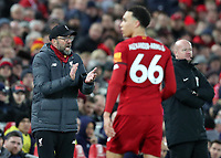 24th February 2020; Anfield, Liverpool, Merseyside, England; English Premier League Football, Liverpool versus West Ham United; Liverpool manager Jurgen Klopp shouts instructions during the second half