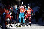 10/12/2016, Pokljuka - IBU Biathlon World Cup.<br /> Fabien Claude competes at the pursuit race in Pokljuka, Slovenia on 10/12/2016. French Martin Fourcade remains leader with the yellow bib after his today victory.