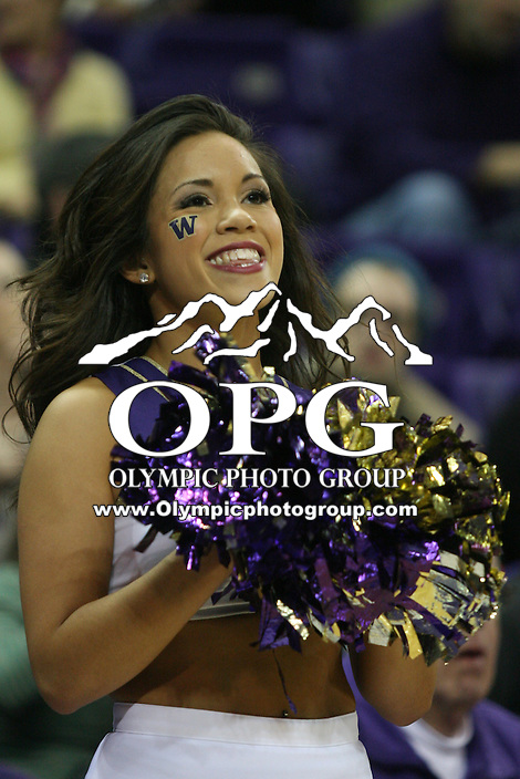 Feb 16, 2013:  Washington cheer leader Leilani Borst entertained fans during the game against Oregon State. Washington defeated Oregon State 72-62 at Alaska Airlines Arena Seattle, Washington...
