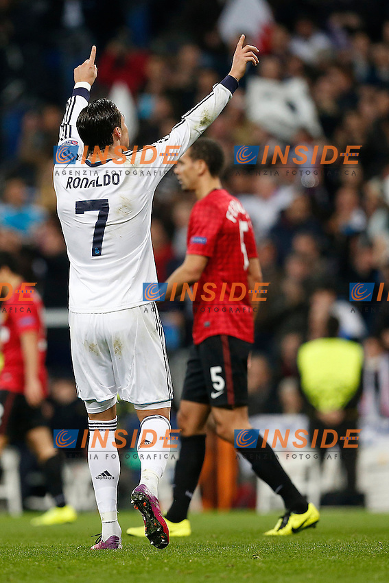 Real Madrid's Cristiano Ronaldo celebrates goal during Champions League 2012/2013 match.February 12,2013. (ALTERPHOTOS/Alfaqui/Cesar Cebolla) .Madrid 13/2/2013 Santiago Bernabeu.Football Calcio 2012/2013 Champions League.Real Madrid Vs Manchester United.Foto Alterphotos / Insidefoto .ITALY ONLY