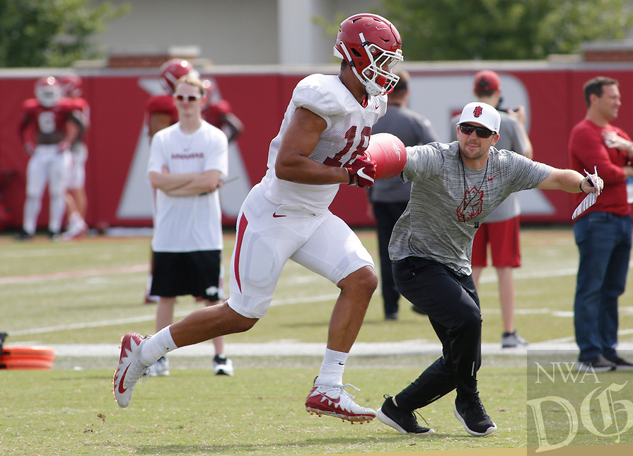 NWA Democrat-Gazette/DAVID GOTTSCHALK University of Arkansas Razorback tight end Jeremy Patton runs through drills Wednesday, August 8, 2018, during football practice on campus in Fayetteville.