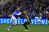 1st October 2017, Hillsborough, Sheffield, England; EFL Championship football, Sheffield Wednesday versus Leeds United; Kieran Lee of Sheffield Wednesday scores in the 82nd minute to make it 3-0
