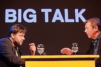 Rotterdam, 24 january 2015<br /> International Film Festival Rotterdam 2015, <br /> Big Talk: The Tribe<br /> Hans Maarten van den Brink talks to director Myroslav Slaboshpytskiy (left). <br /> Photo by Felix Kalkman Copyright and ownership by photographer.<br />