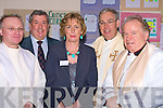 MASS: Welcoming the Bishop of Kerry to Causeway Comprehensive School, on Saturday to celebrate mass to mark 50 years of the school, on Saturday was the Principle Anette O'Sullivan. Front l-r: Fr Liam Lovell, Annette O'Sullivan (Principle) and Bill Murphy Bishop of Kerry. Back John O'Regan (former principle) and Cannon Robert Warren. .........