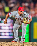 15 August 2017: Los Angeles Angels pitcher Eduardo Paredes on the mound in relief against the Washington Nationals at Nationals Park in Washington, DC. The Nationals defeated the Angels 3-1 in the first game of their 2-game series. Mandatory Credit: Ed Wolfstein Photo *** RAW (NEF) Image File Available ***