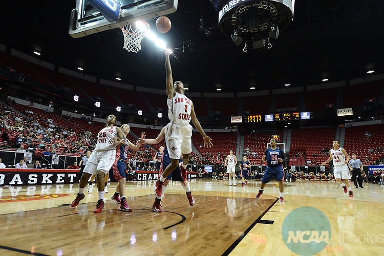 16 MAR 2013: San Diego State takes on Fresno State during the Mountain West Conference Women's Basketball Tournament held at the Thomas & Mack Center in Las Vegas, NV.  Peter Lockley/NCAA Photos