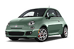 Stock pictures of low aggressive front three quarter view of a 2015 Fiat 500 Sport Door Hatchback Low Aggressive
