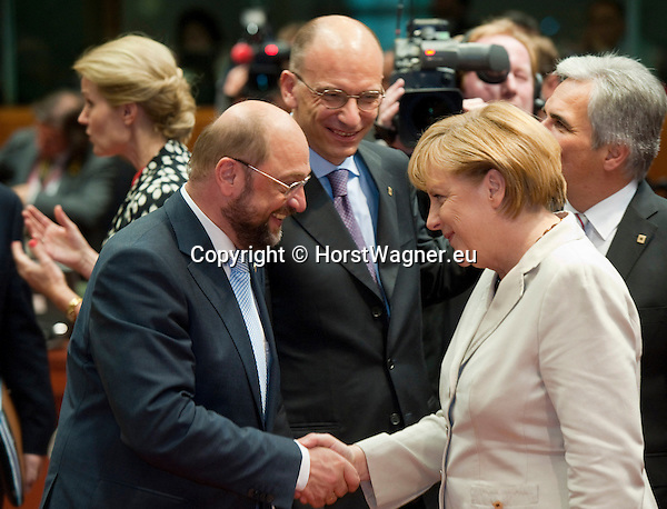 Brussels-Belgium - June 27, 2013 -- European Council, EU-summit, meeting of Heads of State / Government; here, Angela MERKEL (ri), Federal Chancellor of Germany, with Martin SCHULZ (le), President of the European Parliament, and Enrico LETTA (ce), Prime Minister of Italy -- Photo: © HorstWagner.eu