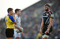 George Ford of Bath Rugby has a word with Geoff Parling of Exeter Chiefs during a break in play. Aviva Premiership match, between Exeter Chiefs and Bath Rugby on October 30, 2016 at Sandy Park in Exeter, England. Photo by: Patrick Khachfe / Onside Images