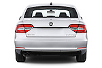 Straight rear view of a 2014 Skoda SUPERB Active 5 Door Hatchback 2WD Rear View  stock images