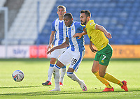 Huddersfield Town's Jaden Brown battles with Norwich City's Lukas Rupp<br /> <br /> Photographer Dave Howarth/CameraSport<br /> <br /> The EFL Sky Bet Championship - Huddersfield Town v Norwich - Saturday September 12th 2020 - The John Smith's Stadium - Huddersfield<br /> <br /> World Copyright © 2020 CameraSport. All rights reserved. 43 Linden Ave. Countesthorpe. Leicester. England. LE8 5PG - Tel: +44 (0) 116 277 4147 - admin@camerasport.com - www.camerasport.com