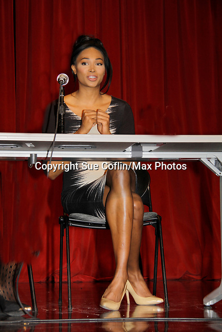Nana Meriwether (Miss USA 2012) is a panelist at Color of Beauty recognizes stylish people of color with a one-day event featuring topical panel discussions followed later tonght with a red carpet awards ceremony. The event was on February 4, 2014 at New York University, New York City, NY. (Photo by Sue Coflin/Max Photos)