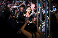 American singer Rihanna attends to presentation of his new cosmetic products 'Fenty Beauty' at Callao Cinema in Madrid, Spain September 23, 2017. (ALTERPHOTOS/Borja B.Hojas)