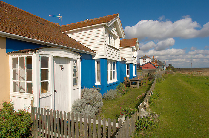 Old fisherman's cottages at Shingle Street, Nr Orford, Suffolk England