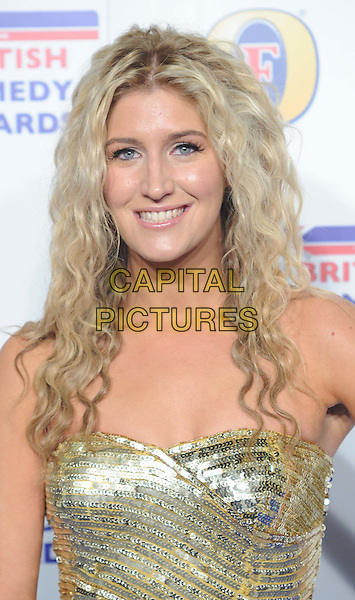 "Francesca ""Cheska""  Hull .arriving at the British Comedy Awards 2011 at the Fountain Studio's, Wembley, London, UK, 16th December 2011..arrivals portrait headshot curly hair smiling strapless gold sequined sequin .CAP/WIZ.© Wizard/Capital Pictures."