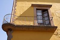 Ornate iron balcony in the city of San Luis de Potosi, Mexico