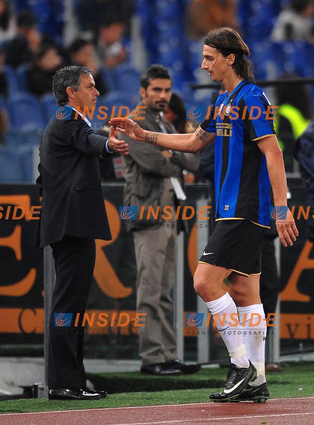 Zlatan Ibrahimovic (Inter) and Jose Mourinho<br /> Roma 19/10/2008 Stadio &quot;Olimpico&quot; <br /> Campionato Italiano Serie A 2008/2009<br /> Roma Inter (0-4)<br /> Foto Andrea Staccioli Insidefoto