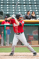 John Hicks (6) of the Tacoma Rainiers at bat against the Salt Lake Bees in Pacific Coast League action at Smith's Ballpark on May 7, 2015 in Salt Lake City, Utah. The Bees defeated the Rainiers 11-4 in the completion of the game that was suspended due to weather on May 6, 2015.(Stephen Smith/Four Seam Images)