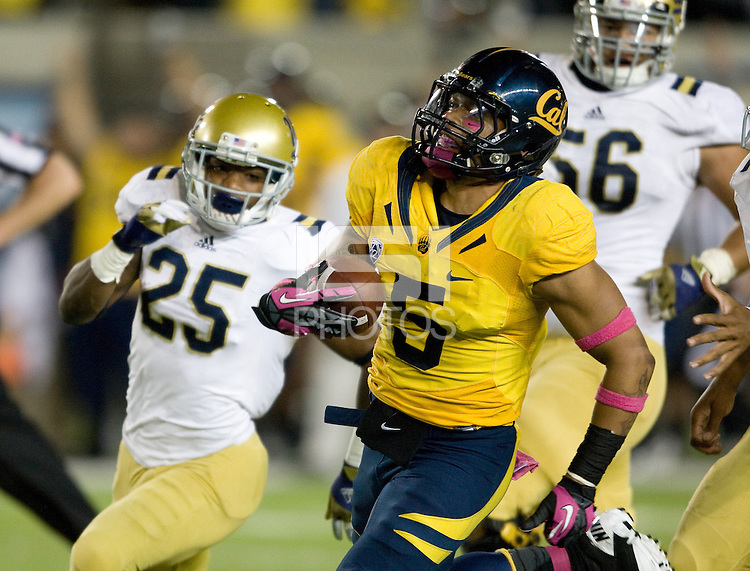 Michael Lowe of California runs the ball after intercepting the pass from UCLA during the game at Memorial Stadium in Berkeley, California on October 6th, 2012.  California defeated UCLA, 43-17.