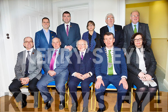 Pictured with the President at The Valentia Cable Station on Saturday were front l-r; Leonard Hobbs(Chairman Cable Foundation Board), Michéal Lyne(Chairman VIDCo), President Michael D.Higgins, John Sheehan(Mayor of Kerry), Moira Murrell(CEO KCC), back l-r; Martin Shanahan(CEO of IDA Ireland), Minister Brendan Griffin, Mary Rose Stafford(ITT), Anthony O'Connell(VIDCo) and John Griffin(KCC).