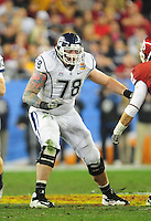 Jan. 1, 2011; Glendale, AZ, USA; Connecticut Huskies offensive guard Zach Hurd against the Oklahoma Sooners in the 2011 Fiesta Bowl at University of Phoenix Stadium. The Sooners defeated the Huskies 48-20. Mandatory Credit: Mark J. Rebilas-