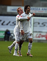 Pictured: Jordi Gomez of Swansea (R) celebrating the goal he scored from a free kick with team mate Thomas Butler (L)<br /> Re: Coca Cola Championship, Swansea City FC v Ipswich Town at the Liberty Stadium. Swansea, south Wales, Saturday 07 February 2009<br /> Picture by D Legakis Photography / Athena Picture Agency, Swansea 07815441513