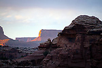 March 14, 2018: The last rays of the day as viewed from Big Spring Canyon in The Needles District, Canyonlands National Park, Utah.