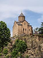 Metheki Kirche und Fluss Kura-Mtkwari, Tiflis – Tbilissi, Georgien, Europa<br /> Metheki Church and river Kura Mtkwari, Tbilisi, Georgia, Europe
