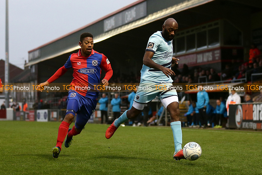 Jamal Fyfield of Boreham Wood and Angelo Balanta of Dagenham during Dagenham & Redbridge vs Boreham Wood, Vanarama National League Football at the Chigwell Construction Stadium on 5th January 2019