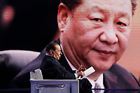 Silvio Berlusconi and on the screen Xi Jinping<br /> Rome February 14th 2019. Silvio Berlusconi appears as a guest on the Tv show Porta a Porta.<br /> Foto Samantha Zucchi Insidefoto