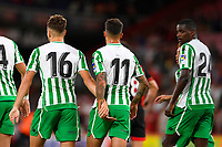 Loren Moron of Real Betis left and Cristian Tello of Real Betis celebrate the second goal during AFC Bournemouth vs Real Betis, Friendly Match Football at the Vitality Stadium on 3rd August 2018