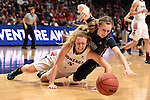 March 6, 2015; Las Vegas, NV, USA; Loyola Marymount Lions guard Makenzie Cast (32, top) dives after the loose basketball against Gonzaga Bulldogs guard Georgia Stirton (5) during the second half of the WCC Basketball Championships at Orleans Arena.