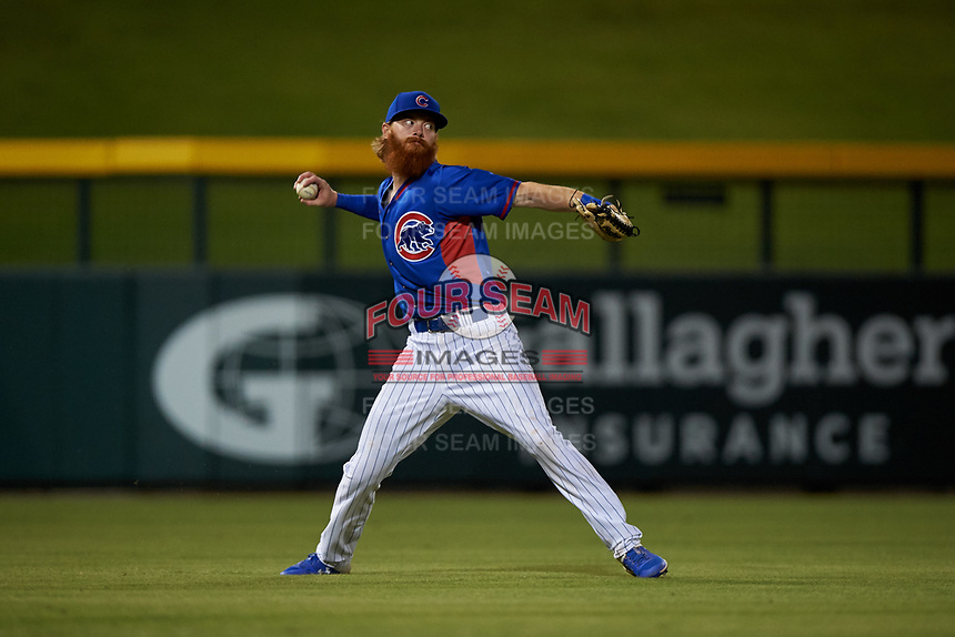 AZL Cubs 2 left fielder Grayson Byrd (78) throws to second base during an Arizona League game against the AZL Dbacks on June 25, 2019 at Sloan Park in Mesa, Arizona. AZL Cubs 2 defeated the AZL Dbacks 4-0. (Zachary Lucy/Four Seam Images)