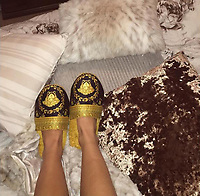 COPY BY TOM BEDFORD<br /> Pictured: Versace slippers worn by Emily Lock<br /> Re: Emily Lock, who studied law and criminology at university was jailed for 15 months along with her drug dealing boyfriend who was given a seven-year prison sentence<br /> 22 year old Lock, a former pupil at Fleur-de-Lys' Ysgol Gyfun Cwm Rhymni, had hoped one day that she would become a probation officer but a modern fascination with a Kim Kardashian type of lifestyle was hinted at as a motivation for her fall.<br /> But her dreams are in tatters after she was put behind bars at Merthyr Tydfil Crown Court after admitting acquiring criminal property.<br /> Lock, the court heard had posted pictures of herself living the highlife on Instagram and that over the space of a year in 2016, she had been on holiday to Amsterdam twice, Paris, Alicante, Miami and Dubai.