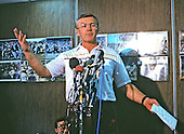 "Washington Redskins head coach Joe Gibbs meets reporters to discuss the use of non-union or ""scab"" players during the NFL players strike at Redskins Park in Herndon, Virginia on September 23, 1987, the second day of the NFL players strike.<br /> Credit: Howard L. Sachs / CNP"