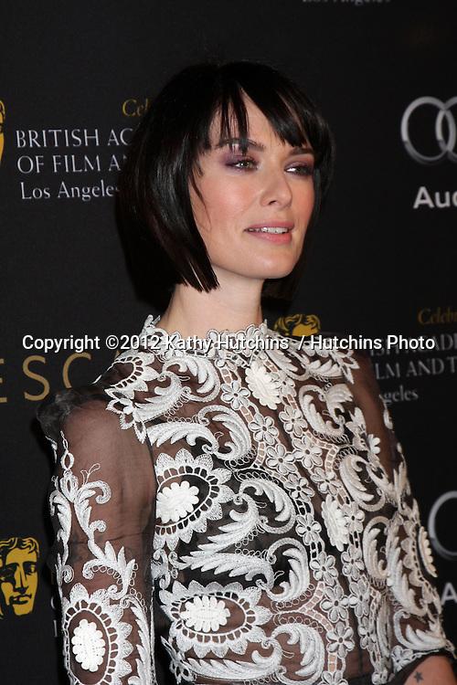 LOS ANGELES - JAN 14:  Lena Headey arrives at  the BAFTA Award Season Tea Party 2012 at Four Seaons Hotel on January 14, 2012 in Beverly Hills, CA