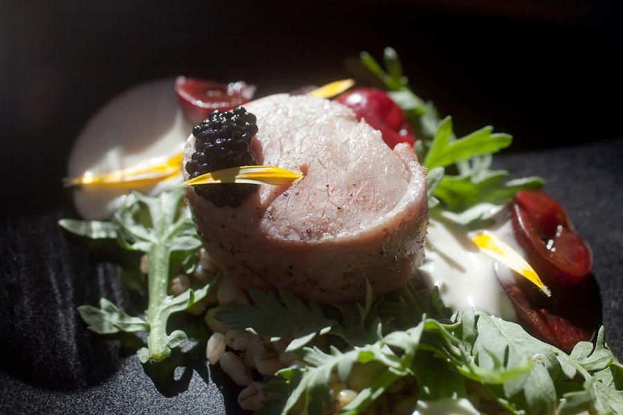 Meal served at Racion. Pork