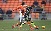 Blackpool's Nathan Delfouneso b\ Bristol Rovers' Tom Lockyer<br /> <br /> Photographer Mick Walker/CameraSport<br /> <br /> The EFL Sky Bet League One - Blackpool v Bristol Rovers - Saturday 13th January 2018 - Bloomfield Road - Blackpool<br /> <br /> World Copyright &copy; 2018 CameraSport. All rights reserved. 43 Linden Ave. Countesthorpe. Leicester. England. LE8 5PG - Tel: +44 (0) 116 277 4147 - admin@camerasport.com - www.camerasport.com