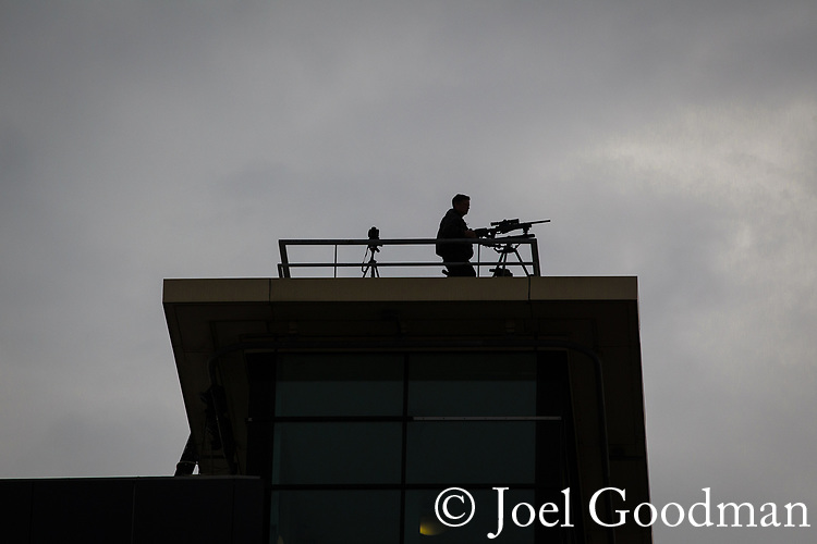© Joel Goodman - 07973 332324  . 02/10/2011 . Manchester, UK . A sniper stationed on a rooftop overlooking the 2011 Conservative Party Conference at the Manchester Central Convention Centre (formerly GMex) . Photo credit: Joel Goodman
