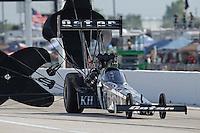 Apr. 26, 2013; Baytown, TX, USA: NHRA top fuel dragster driver Shawn Langdon during qualifying for the Spring Nationals at Royal Purple Raceway. Mandatory Credit: Mark J. Rebilas-