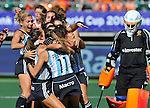 The Hague, Netherlands, June 08: Players of Argentina celebrate after winning with a goal scored by Rosario Luchetti #4 of Argentina in extra time during the field hockey group match (Women - Group B) between England and Argentina on June 8, 2014 during the World Cup 2014 at Kyocera Stadium in The Hague, Netherlands. Final score 1-2 (1-1)  (Photo by Dirk Markgraf / www.265-images.com) *** Local caption ***