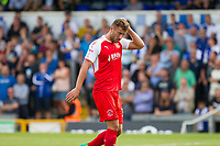 New loan signing Baily Cargill of Fleetwood Town during the Sky Bet League 1 match between Bristol Rovers and Fleetwood Town at the Memorial Stadium, Bristol, England on 26 August 2017. Photo by Mark  Hawkins.