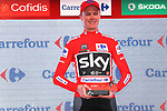 Race leader Christopher Froome (GBR) Team Sky retains the Red Jersey on the podium at the end of Stage 16 of the 2017 La Vuelta, an individual time trial running 40.2km from Circuito de Navarra to Logro&ntilde;o, Spain. 5th September 2017.<br /> Picture: Unipublic/&copy;photogomezsport | Cyclefile<br /> <br /> <br /> All photos usage must carry mandatory copyright credit (&copy; Cyclefile | Unipublic/&copy;photogomezsport)