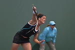 March 21 2016:  Lourdes Domingues Lino (ESP) defeats Stefanie Voegele (SUI) by 6-2, 7-5, at the Miami Open being played at Crandon Park Tennis Center in Miami, Key Biscayne, Florida.
