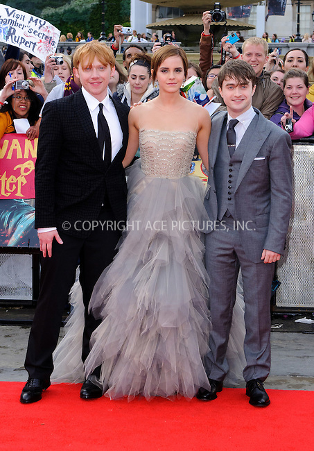 Rupert Grint, Emma Watson and Daniel Radcliffe at the World premiere of 'Harry Potter and the Deathly Hallows: Part 2' in London - 07 July 2011..FAMOUS PICTURES AND FEATURES AGENCY 13 HARWOOD ROAD LONDON SW6 4QP UNITED KINGDOM tel +44 (0) 20 7731 9333 fax +44 (0) 20 7731 9330 e-mail info@famous.uk.com www.famous.uk.com.FAM41870