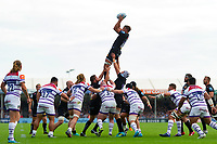 Sam Skinner of Exeter Chiefs wins the ball at a lineout. Gallagher Premiership match, between Exeter Chiefs and Leicester Tigers on September 1, 2018 at Sandy Park in Exeter, England. Photo by: Patrick Khachfe / JMP