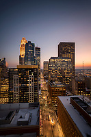 Minneapolis, Minnesota skyline at sunset as seen from the 26th floor of the 365 Nicollet apartment tower.