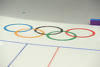 OLYMPIC GAMES: PYEONGCHANG: 09-02-2018, Gangneung Oval, Training session, Olympic rings in the ice, ©photo Martin de Jong
